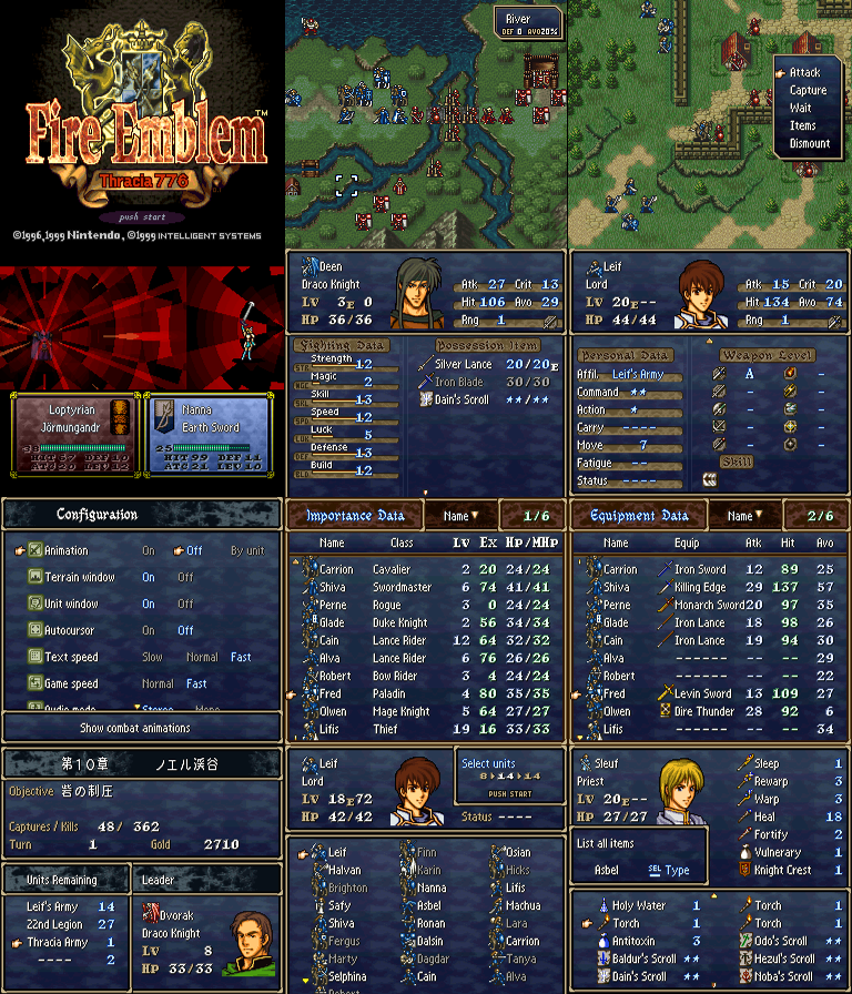 Thracia 776 Complete Menu Translation, VWF, Double RNG - Fan
